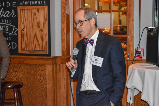Martin Himeles Jr., the managing partner of the Baltimore office of Zuckerman Spaeder LLP, speaks to guests at the Pratt Street Ale House attending the launch party for The Equal Justice Associates. (Photo by Bill Hall, MSBA)