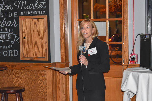 Alicia Shelton, an associate attorney with Zuckerman Spaeder LLP, addresses the crown at the Pratt Street Ale House attending the launch party for The Equal Justice Associates. Shelton was also named treasurer of the young lawyers group. (Photo by Bill Hall, MSBA)