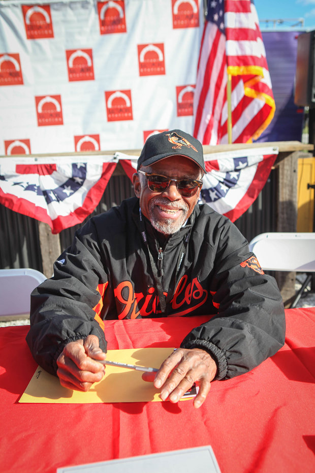 Al Bumbry, a former outfielder for the Baltimore Orioles and a 1987 inductee into the team's hall of fame, served as judge for this year's Stars, Stripes & Chow Chili Cookoff. (Photo courtesy of The Baltimore Station)