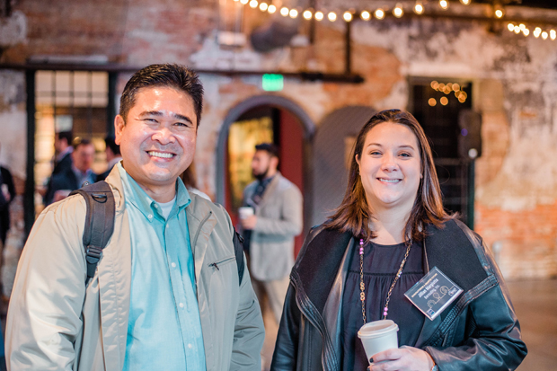 "Roberto Reside, left, of TIC Gums, and Jillian Margiotta, an account manager with Barcoding Inc., attended SC&H Group's ""Manufacturing a Smarter Future: Innovation on a Budget"" series event. (Photo courtesy of SC&H Group)"