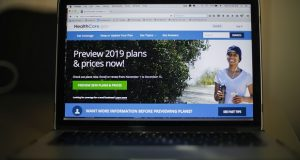 The HealthCare.gov website is photographed in Washington, Wednesday, Oct. 31, 2018. Numbers released this week by the government show just a slight dip in people enrolled for Affordable Care Act coverage next year through HealthCare.gov. That's the case even though the Republican-led Congress repealed fines for being uninsured effective Jan. 1. The drop _ from 8.8 million to 8.5 million _ was far less than experts forecast.  (AP Photo/Pablo Martinez Monsivais)