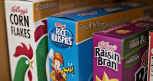 Some of the cereal products sold by Kellogg. The Battle Creek, Michigan, company is in a dispute with employees over the consequences of a Supreme Court ruling on arbitration.