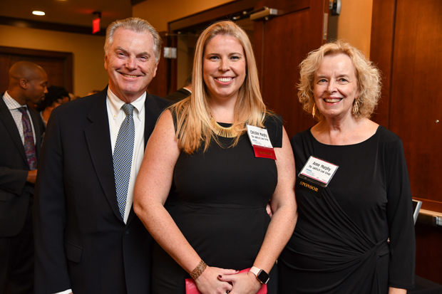 Christine Murphy, center, an attorney with The Jaklitsch Law Group and a 2018 Leading Women honoree, enjoys the evening with Jerry Murphy, left, and Anne Murphy at The Westin Annapolis. (Photo by Maximilian Franz)
