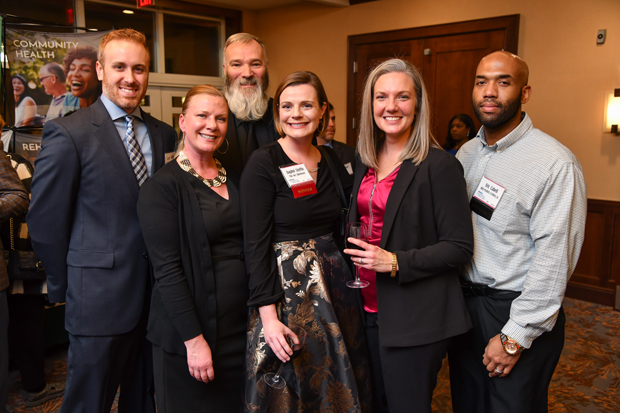 From left Jason Steffin, Debbi McRann, Paul McRann, Daphni Steffin, 2018 Leading Women honoree Marlies Beerli Cabell, a Prosthetist Orthotist with Ability Prosthetics & Orthotics, and Eric Cabell pose for a photo during the opening reception. (Photo by Maximilian Franz)