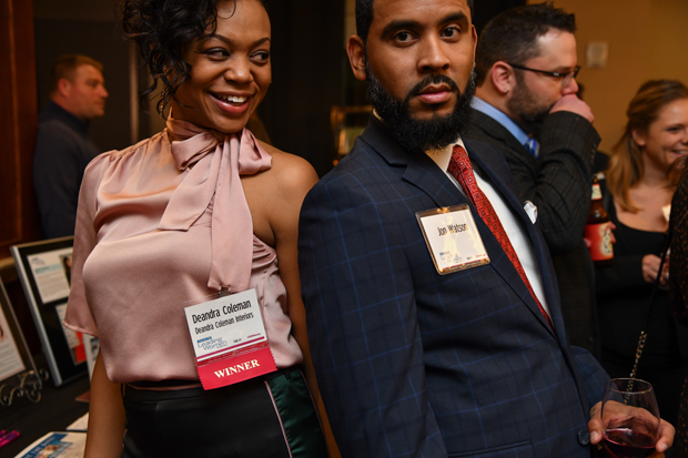 2018 Leading Women honoree Deandra Coleman, owner of Deandra Coleman Interiors, stands with Jon Watson. (Photo by Maximilian Franz)