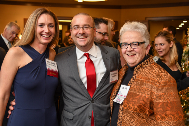 From left, 2018 Leading Women honoree Kelly Donohue, of the Law Offices of Kelly Donohue LLC; Chris Corchiarino, Goodell DeVries; and Carol Smith were on hand for the festivities at The Westin Annapolis. (Photo by Maximilian Franz)