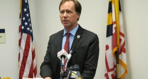 Anne Arundel County Executive Steuart Pittman announces the Maryland county is ending its contract with federal officials to screen detainees in county jails for immigration status during a news conference on Thursday, Dec. 27, 2018 in Annapolis, Md. (AP Photo/Brian Witte)