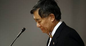 University of Maryland president Wallace Loh speaks at a news conference announcing his decision to step down in 2019. (AP Photo/Patrick Semansky)