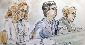 In this courtroom sketch James Alex Fields Jr., center, sits with his attorney's Denise Lunsford, left, and John Hill during the second day of jury selection in his trial in Charlottesville General District Court in Charlottesville, Va., Tuesday, Nov. 27, 2018. Fields is accused of killing a woman during a white nationalist rally in Virginia last year. (Izabel Zermani via AP)
