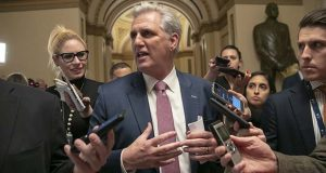 House Majority Leader Kevin McCarthy, R-Calif., leaves the chamber after the Republican-led House approved funding for President Donald Trump's border wall in legislation that pushes the government closer to a partial government shutdown, at the Capitol in Washington, Thursday, Dec. 20, 2018. The bill now goes to the Senate, where it has almost no chance of passing. (AP Photo/J. Scott Applewhite)