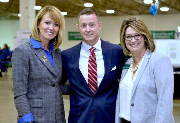 From left, Kelly M. Schulz, secretary of the Maryland Department of Labor, Licensing and Regulation; Tom Sadowski, vice chancellor of economic development with the University System of Maryland; and Jennifer Bodensiek, president and CEO of Junior Achievement of Central Maryland, were on hand for the launching of Junior Achievement of Central Maryland's JA Inspire initiative. (Photo by Tom O'Connor)