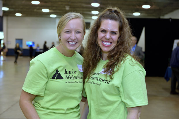 Katie Bush, left, manager of business development for KatzAbosch, and Katherine Koustenis a vice president and compliance manager with Howard Bank, attended the launching of Junior Achievement of Central Maryland's JA Inspire initiative. (Photo by Tom O'Connor)