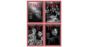 """This combination photo provided by Time Magazine shows their four covers for the """"Person of the Year,"""" announced Tuesday, Dec. 11, 2018. The covers show Jamal Khashoggi, top left, members of the Capital Gazette newspaper, of Annapolis, Md., top right, Wa Lone and Kyaw Soe Oo, bottom left, and Maria Ressa. The covers, which Time called the """"guardians and the war on truth,"""" were selected """"for taking great risks in pursuit of greater truths, for the imperfect but essential quest for facts that are central to civil discourse, for speaking up and speaking out."""" (Time Magazine via AP)"""