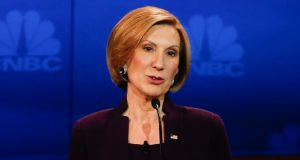 "CNBC EVENTS -- The Republican Presidential Debate: Your Money, Your Vote -- Pictured: Carly Fiorina participates in CNBC's ""Your Money, Your Vote: The Republican Presidential Debate"" live from the University of Colorado Boulder in Boulder, Colorado Wednesday, October 28th at 6PM ET / 8PM ET -- (Photo by: David A. Grogan/CNBC/NBCU Photo Bank via Getty Images)"