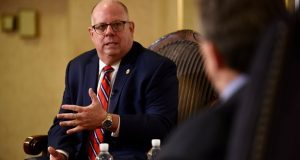 Gov. Larry Hogan interviewed Wednesday morning at the Annapolis Summit in Annapolis. (Maximilian Franz for The Daily Record)