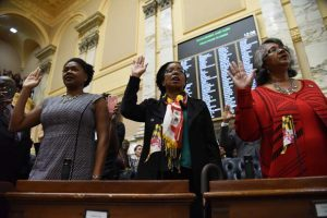 Dels. Melissa Wells, Robby Lewis and Cheryl Glenn, all Democrats representing Baltimore, are part of the largest class of women to serve in the Maryland General Assembly this session. (Maximilian Franz / Contributing Photographer)