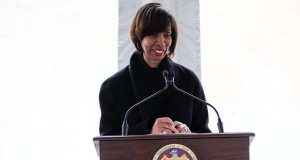Baltimore Mayor Catherine Pugh speaks in January at an Opportunity Zone news conference. (The Daily Record / Adam Bednar)