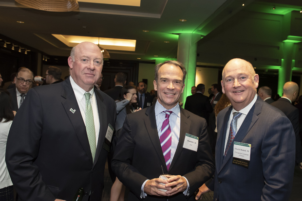 From left, Bob Cawley, president of Riggs, Counselman, Michaels & Downes; John Hehir, a senior vice president with PNC Bank; and Charles Maskell, CEO and managing director of Chesapeake Corporate Advisors, attended the Sellinger School of Business and Management's 2018 Business Leader of the Year celebration. (Photo by Larry Canner Photography)