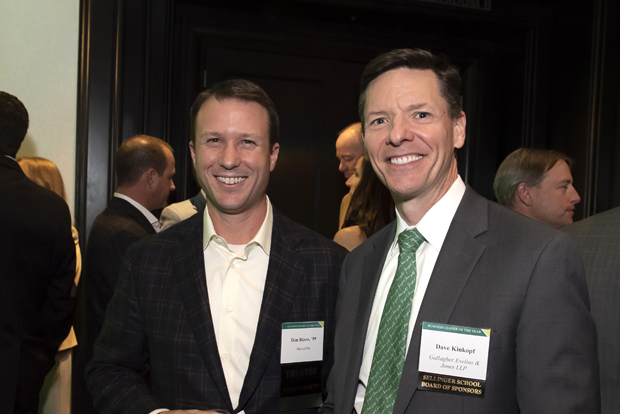 Dan Rizzo, left, an innovation fellow with Inovalon, spends time with Dave Kinkopf, a partner at Gallagher Evelius & Jones, during the Sellinger School of Business and Management's 2018 Business Leader of the Year celebration. (Photo by Larry Canner Photography)