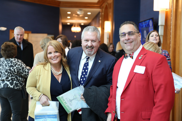 "From left, Stephanie Nay, graphic design manager with Harford County Government; Mark Dardozzi, co-owner and vice president of Richlin Catering & Events Center; and Tony ""G"" Giangiordano, Harford County Councilmember, were in attendance at Harford County's State of the County luncheon. (Photo by Kate Rodriguez)"