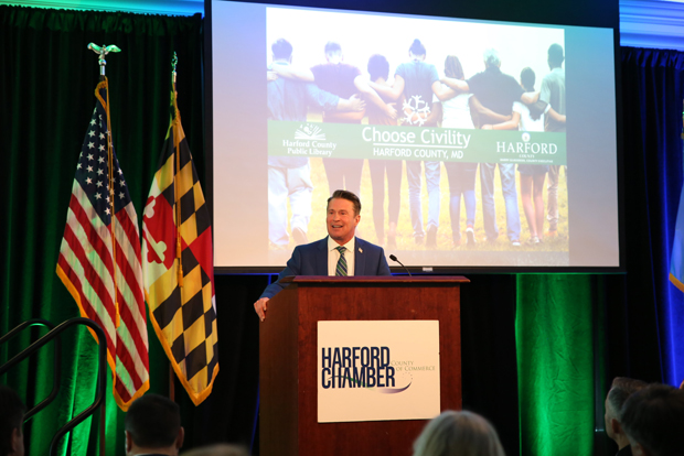 Harford County Executive Barry Glassman delivers the annual State of the County address at Water's Edge Events Center in Belcamp. (Photo by Kate Rodriguez)