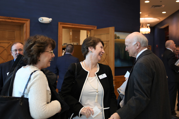 From left, Melissa Barnicle, an agent with Baygroup Insurance; Jodi Davis, a principal with The Kelly Group; and Jesse Bane, Bel Air Town Administrator, enjoy some time together at the luncheon. (Photo by Kate Rodriguez)