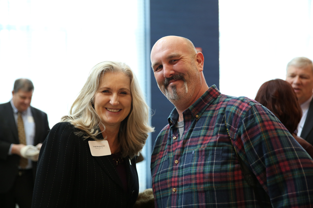 Trish Heidenreich, left, director of economic development with the Town of Bel Air, grabs a photo with Matt Button, photo editor of The Aegis newspaper. (Photo by Kate Rodriguez)