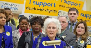 Del. Shane E. Pendergrass, D-Howard, speaks during a rally to support her bill to allow medically assisted suicide. (Bryan P. Sears / The Daily Record)