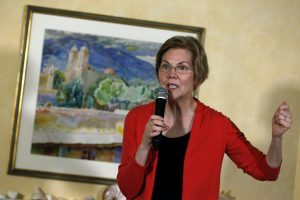 In this Jan. 12, 2019, photo, Sen. Elizabeth Warren, D-Mass., speaks during a house party in Concord, N.H. Advocates for gender equality are gearing up for at least four women to compete for the Democratic nomination to take on President Donald Trump in 2020. (AP Photo/Michael Dwyer)