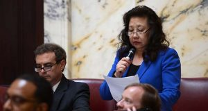 Sen. Susan C. Lee, D-Montgomery, is the sponsor of a measure would require the prosecution of anyone who made threats that would — if carried out — immediately put five or more people in substantial risk of their safety. (File photo)
