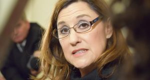 Del. Mary Ann Lisanti, D-Harford, meets with reporters Thursday evening following her censure. (Bryan P. Sears)