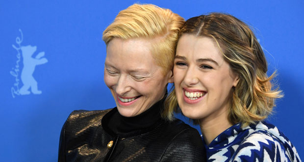Actress Tilda Swinton, left, and actress Honor Swinton Byrne, right, pose for photographers during the photo-call for the film 'The Souvenir' at the 2019 Berlinale Film Festival in Berlin, Tuesday, Feb. 12, 2019. (Gregor Fischer/dpa via AP)