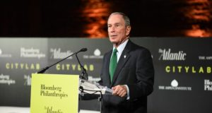 8-2-17  BALTIMORE, MD- Michael R. Bloomberg, Founder, Bloomberg LLP and Bloomberg Philanthropies; 108th Mayor of New York City hugging Chrystal Boykins, Co-Owner of Cuties on Duty and recent graduate of the Goldman Sachs 10,000 Small Businesses program at The Citylab Baltimore event at the Parkway Theater sponsored by The Atlantic, The Aspen Institute and Bloomberg Philanthropies. (The Daily Record/Maximilian Franz)