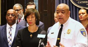Baltimore Mayor Catherine Pugh center, stands with Michael Harrison, her pick for Baltimore police commissioner, on Feb. 11, 2019. (The Daily Record / Adam Bednar)