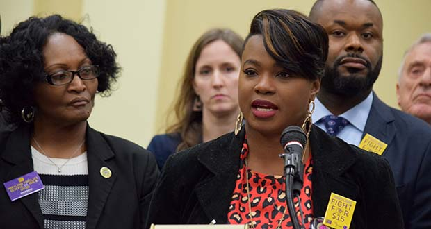 Ricarra Jones, 1199SEIU's political director, shown at a 2019 news conference, said she decided to create Protect Maryland Workers after listening to essential workers' stories of being put in dangerous situations at work throughout the pandemic, with some complaints spanning nearly every industry. (The Daily Record/File Photo)