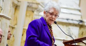 Treasurer Nancy Kopp speaks Feb. 19, 2019 in Annapolis. (The Daily Record / Bryan P. Sears)