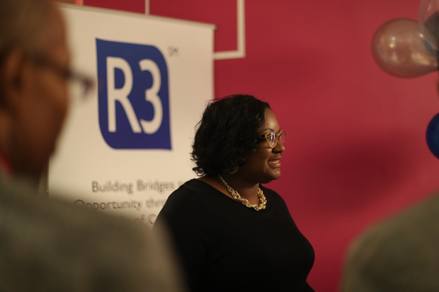Teresa Hodge, CEO & founder of R3Score, attended SHIFT Ventures' Demo Day 4: A Challenge for More Resilient Cities. (Photo by Shawn Wehland, Conscious Venture Lab & SHIFT Ventures)