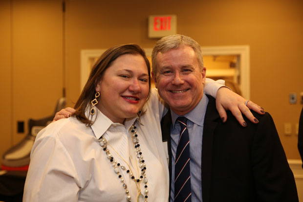 Angela Rose, president and CEO of the Harford County Chamber of Commerce is all smiles with Jay Ellenby, president of Safe Harbors Travel Group and past chair of the Harford Chamber board, as they enjoy the Chamber's annual dinner. (Photo by Kate Rodriguez)
