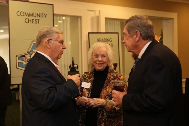 Dr. Dick Streett, left, secretary of the University of Maryland Upper Chesapeake Health Board of Directors, and Adele Wilzack, center, a UM UCH board member chat during the Harford County Chamber of Commerce's annual dinner. (Photo by Kate Rodriguez)