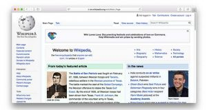 English Wikipedia front page on Feb. 27, 2019. (The Daily Record screenshot)