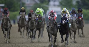 Baltimore is engaged in a bitter dispute with the owner of the historic Pimlico Race Course, who seeks to move the Preakness States -- the middle jewel in the Triple Crown of thoroughbred horse racing -- out of the city where it was first run in 1873. Above is a scene from the 2017 Preakness.