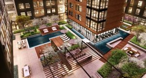 A rendering of the courtyard at Arrowwood, a 294-unit apartment community planned for White Flint Metro in North Bethesda. (LCOR)