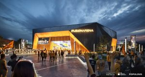 A rendering of the planned Fusion Arena in Philadelphia planned by The Cordish Companies and Comcast Spectacor. (Populous)