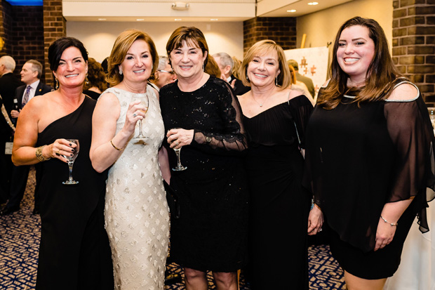 From left, Chrissy Sprinkel, Gala chair Wendy Gallo, Sandra Rolph, Ginger Beigel and Abby Sprinkel enjoy their time at Penn-Mar Human Services' 27th annual Black Tie Gala. (Photo by SMJ Photography)