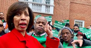Baltimore Mayor Catherine Pugh speaks Friday in Annapolis. (The Daily Record / Bryan P. Sears)