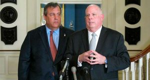"Maryland Gov. Larry Hogan, right, talks to reporters with former New Jersey Gov. Chris Christie, left, on Thursday, March 21, 2019 at the governor's residence in Annapolis, Md. Hogan, who still isn't entirely ruling out a potential primary challenge to President Donald Trump because it's unclear what the future holds, said that currently ""it doesn't make any sense at all."" Christie says he doesn't see a political path at the moment for challenging Trump, because of the president's approval ratings among Republicans. (AP Photo/Brian Witte)"