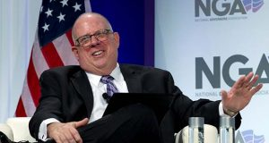 "FILE - In this Feb. 23, 2019, file photo, Maryland Governor Larry Hogan speaks during the National Governor Association 2019 winter meeting in Washington. Hogan says he doesn't yet believe President Donald Trump is vulnerable in a primary, but he's still considering launching a challenge because ""things could change."" (AP Photo/Jose Luis Magana, file)"