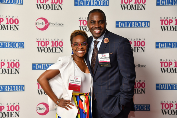 Top 100 Women winner Cheree' H. Johnson, deputy general counsel and chief intellectual property counsel with McCormick & Co., Inc., poses with Steffan Johnson. (Photo by Maxiimilian Franz)