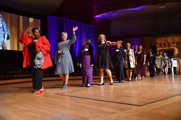 2019 Top 100 Women winners walk across the stage at the Joseph Meyerhoff Symphony Hall in Baltimore at the start of the awards ceremony. (Photo by Maximilian Franz)