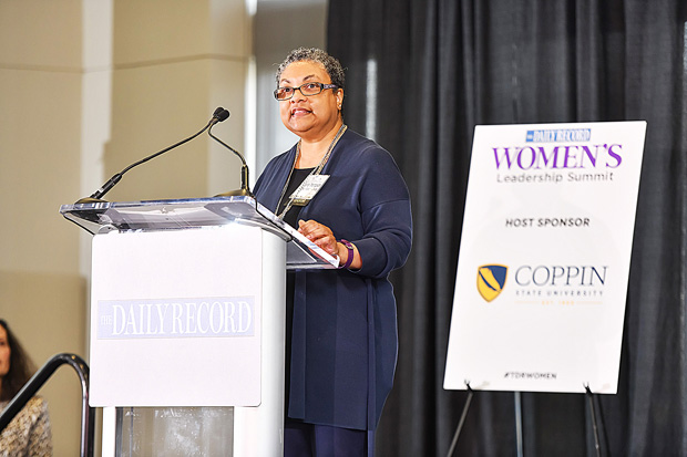 Coppin State University President Maria Thompson welcomes guests to the 2019 Women's Leadership Summit March 20. Coppin State was the host sponsor for the event. (Photo by Maximillian Franz)